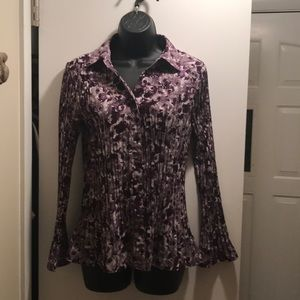 East 5th floral pleated long sleeve blouse